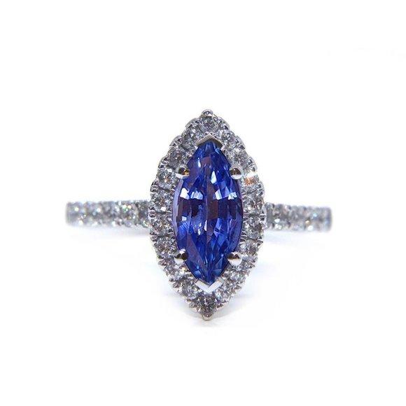 Jewelry - SRI LANKA BLUE SAPPHIRE round Marquise shape